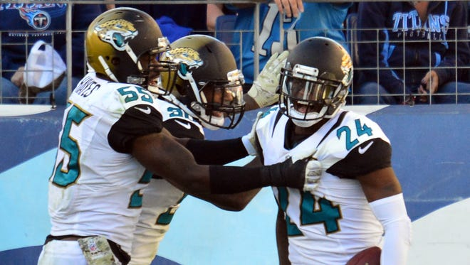 Jaguars CB Will Blackmon (24) and his teammates celebrated a rare victory in Nashville on Sunday.
