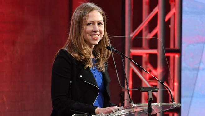 Chelsea Clinton speaks onstage at the GMHC 35th Anniversary Spring Gala at Highline Stages on March 23, 2017, in New York City.