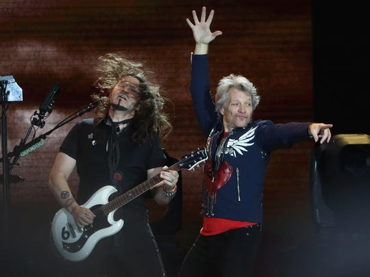 Jon Bon Jovi and Phil X perform during the Bon Jovi
