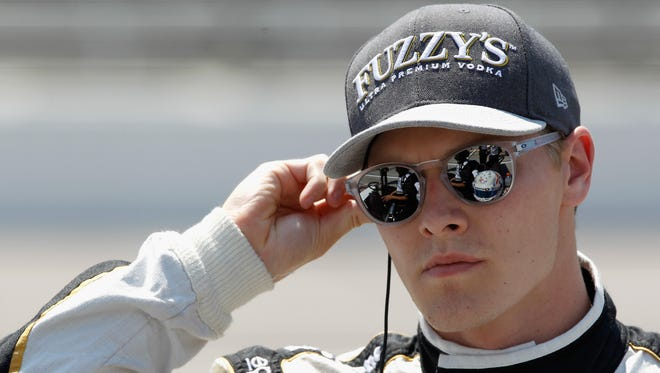 Josef Newgarden looks on during Verizon IndyCar Series qualifying at Texas Motor Speedway on June 10 in Fort Worth, Texas.