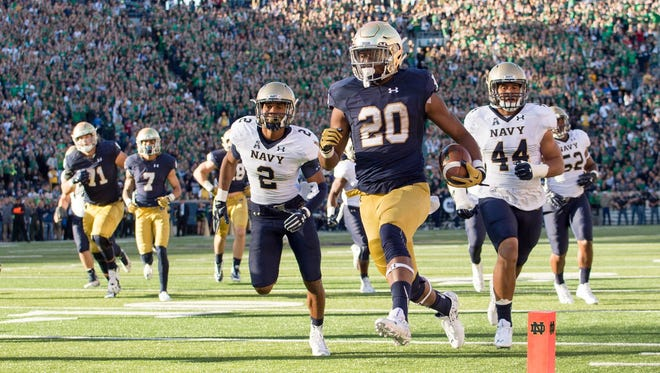 Notre Dame running back C.J. Prosise scored three times in an Irish win over Navy.