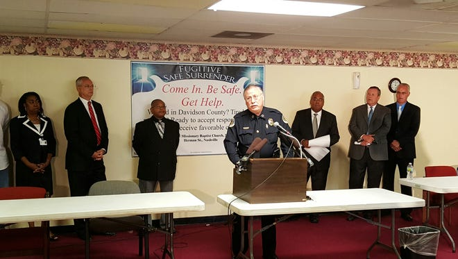 Chief Anderson is joined by leaders from the clergy and Nashville's justice system for Thursday's Fugitive Safe Surrender announcement.