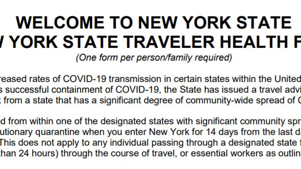 The New York Department of Health is asking passengers on flights to fill out this form on where they have been as part of 14-day quarantine required of people who have come from states with high COVID-19 rates.