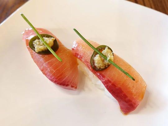 Hamachi serrano nigiri from Obon Sushi Bar Ramen.