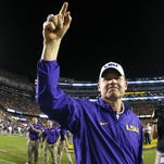 LSU head coach Les Miles leaves the field before an NCAA college football game against Texas A&M in Baton Rouge, La., Saturday, Nov. 28, 2015. (AP Photo/Jonathan Bachman)