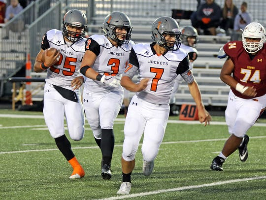 Cameron Baker (25) of C.B. Thomas Jefferson rushed for more than 200 yards a game last season.