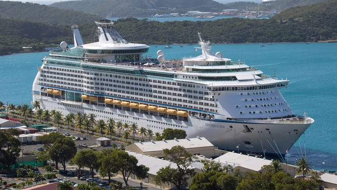 Royal Caribbean's Explorer of the Seas is docked at Charlotte Amalie Harbor in St. Thomas, U. S. Virgin Islands, Sunday, Jan. 26, 2014.
