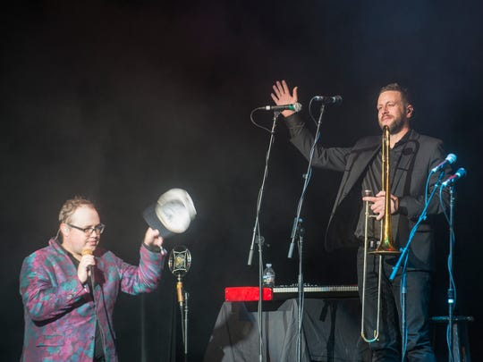 Paul Janeway introduces trombone player Chad Fisher of Deatsville as St. Paul & The Broken Bones performs at Montgomery Performing Arts Centre on Friday, Sept. 29, 2017.