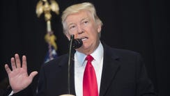 President Trump speaks in Washington on Feb. 21, 2017.