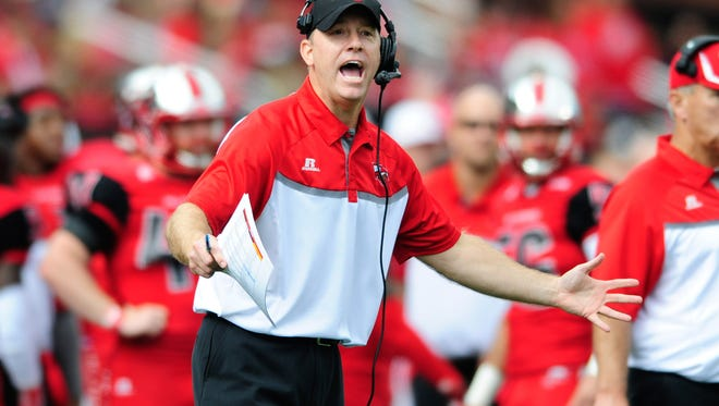 Oct 10, 2015; Bowling Green, KY, USA; Western Kentucky Hilltoppers head coach Jeff Brohm reacts during the first half against the Middle Tennessee Blue Raiders at Houchens Industries-L.T. Smith Stadium. Mandatory Credit: Joshua Lindsey-USA TODAY Sports