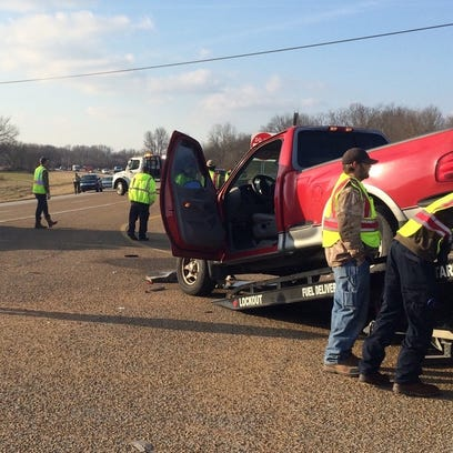 Four people were injured in a wreck Friday afternoon