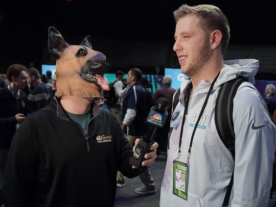 Eagles quarterback Nate Sudfeld is interviewed by a