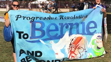 Several hundreds protesters walked five miles from City Hall to FDR park on Sunday to rally for Bernie Sanders.