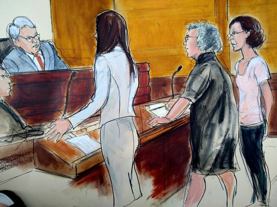 In this courtroom drawing, Clare Bronfman, right, is