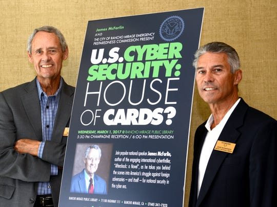 Computer expert James McFarlin (left) and Dave Richardson, both Rancho Mirage city commissioners, will present on March 1 a talk on cyber crime, hacking and keeping your computer safe at the Rancho Mirage library.