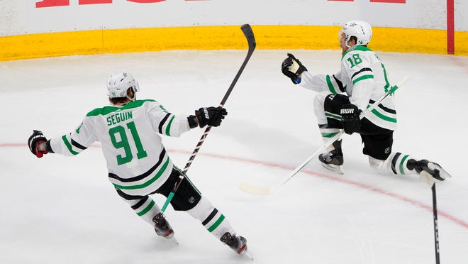 Stars center Joe Pavelski, right, celebrates his goal against the Lightning with teammate Tyler Seguin during the third period of Game 5 of the Stanley Cup Final.