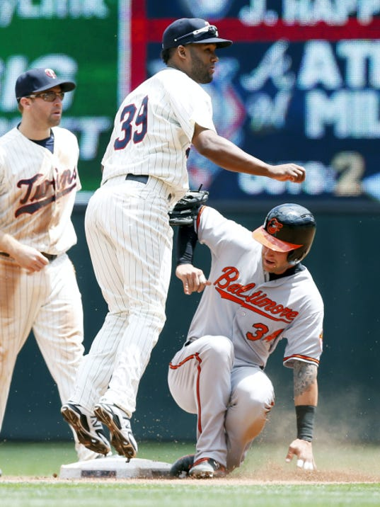 Baltimore's Christian Walker, right, is forced out at second as shortstop Danny Santana watches his throw to double up J.J. Hardy in the fourth inning on Wednesday in Minneapolis.