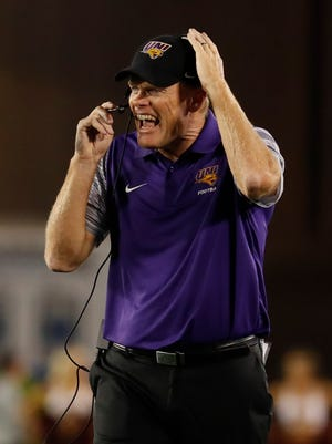 UNI coach Mark Farley coaches from the sidelines in the second half against the Iowa State Cyclones at Jack Trice Stadium on September 2, 2017 in Ames, Iowa.