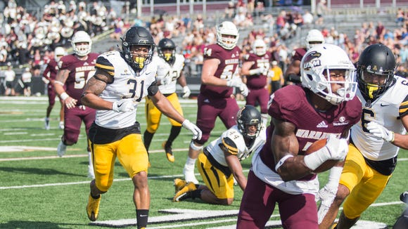 Marcus Green and R.J. Turner (2) accounted for almost 45 percent of ULM's receiving production in 2017.