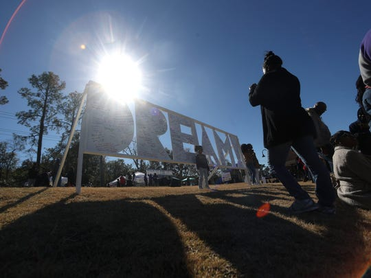 A DREAM board is filled with affirmations from the people gathered at Cascades Park for the annual MLK Dare to Dream Festival, on the holday named for the civil rights leader, Monday, Jan. 15, 2018.