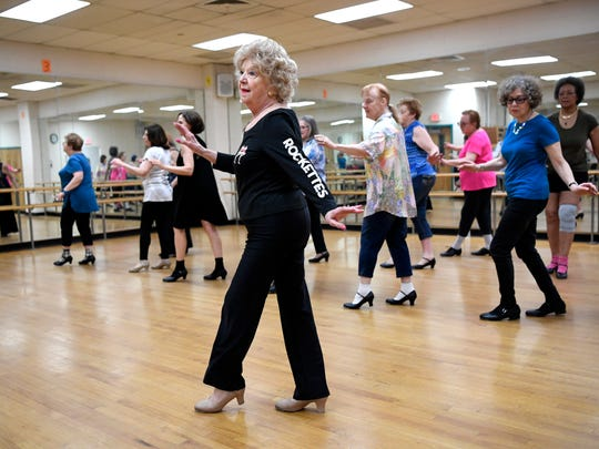 Former Rockette Jean Martin leads a tap-dance class at the Richard Rodda Community Center in Teaneck, NJ on Thursday, May 3, 2018.