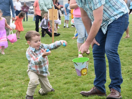 Owen Ainsworth, 3, places some eggs into a bucket.
