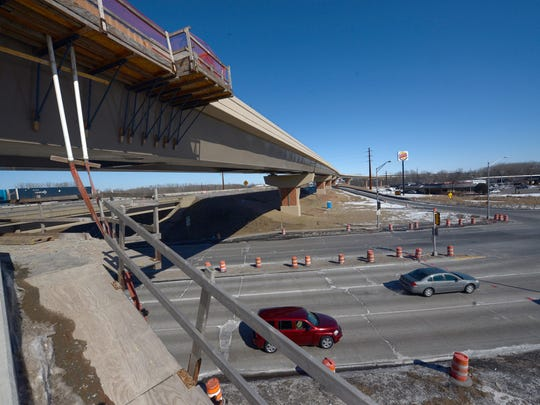 Velp Avenue passes under the new ramp that will carry traffic from northbound U.S. 41 to southbound Interstate 43 on Friday.
