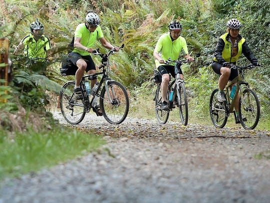 Mountain bikers Jay Spady, Tim Baker, Dave Myers and Roberta Beery ride in September 2014 at the Ueland Tree Farm in Bremerton.