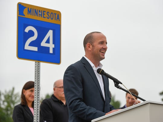 Clearwater Mayor Pete Edmonson spoke during the opening of the new Minnesota Highway 24 bridge over the Mississippi River Wednesday, Aug. 16, in Clearwater.