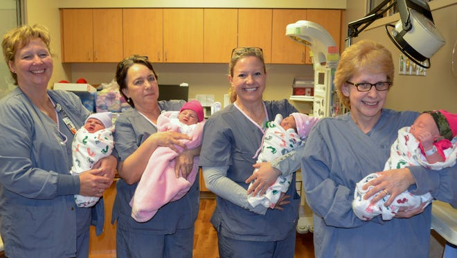 Aspirus Birthing Center-Medford welcomed not one … not two … not three, but four Leap Day babies on Feb. 29, 2016. They are Ramsey Lee Schleis of Gilman, son of Alicia and Nicholas Schleis; Bella Marie Williams of Phillips, daughter of Jen Kunkel and Sam Williams; Sofia Garcia Duda of Colby, daughter of Megan Duda and Josue Garcia Mareelino; and Winter Draeger of Medford, daughter of Mona Baughman and Teddy Draeger. Aspirus staff holding the babies are Kris Justice, registered nurse, Aspirus Birthing Center, from left; Pam Moore, certified nursing assistant, Aspirus Birthing Center; Darla Kloth, registered nurse, Aspirus Medford Hospital; and Lana Wilbur of Aspirus Environmental Services.