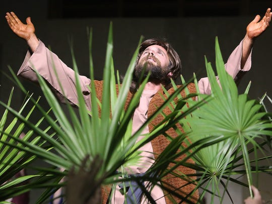 Jesus offers thanks for the warm reception he received on Palm Sunday.  in the North Florida Baptist Church Passion Play.