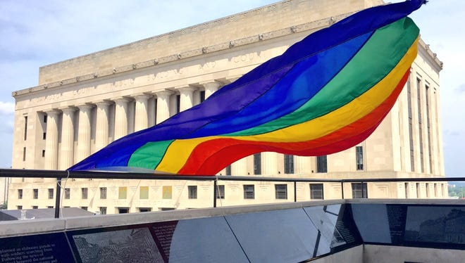 A gay pride flag was placed nearly Metro plaza.
