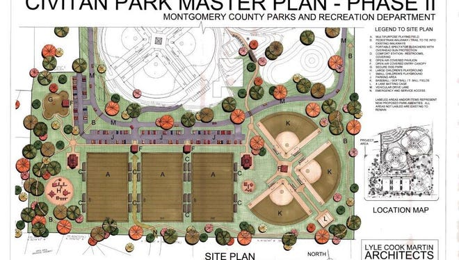 Aerial map overview of Civitan Park master plan, phase 2.