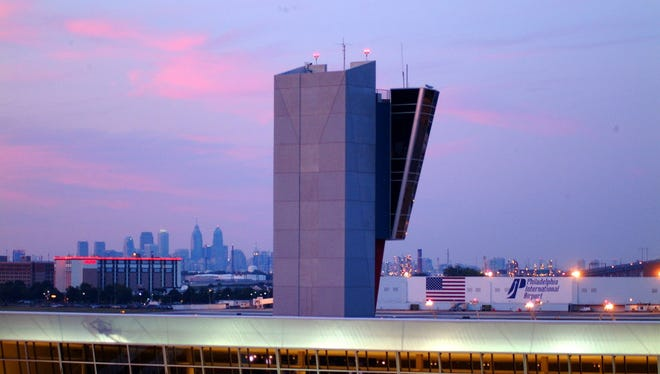 This is the regional Tower F with the new ramp control tower at the Philadelphia International Airport.