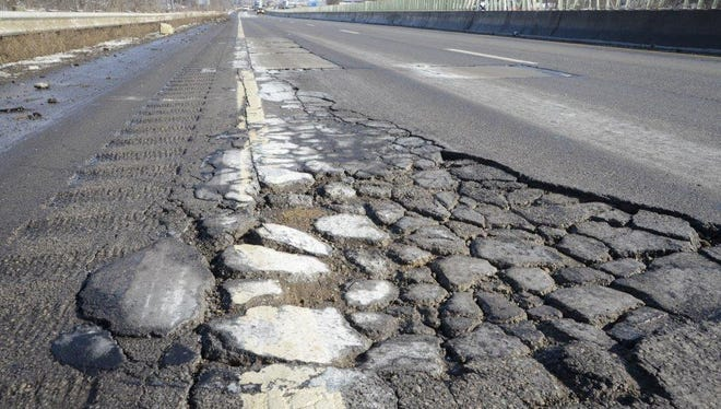 This is a photo from the News Journal archives of potholes on U.S. 30.