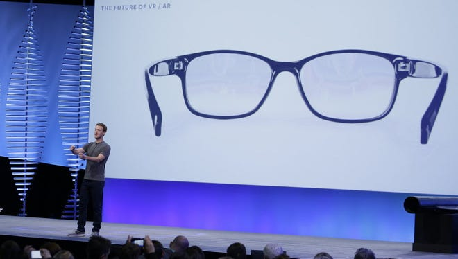 Augmented reality is expected to take center stage at Facebook's annual F8 conference for software developers on Tuesday. In this photo from Facebook's 2016 F8 conference, CEO Mark Zuckerberg talks about augmented reality glasses.