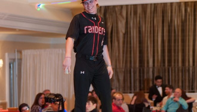 Michael Muentener, here at Cliffside Park's Senior Fashion Show last year, started 16 games for Montclair State baseball this season.