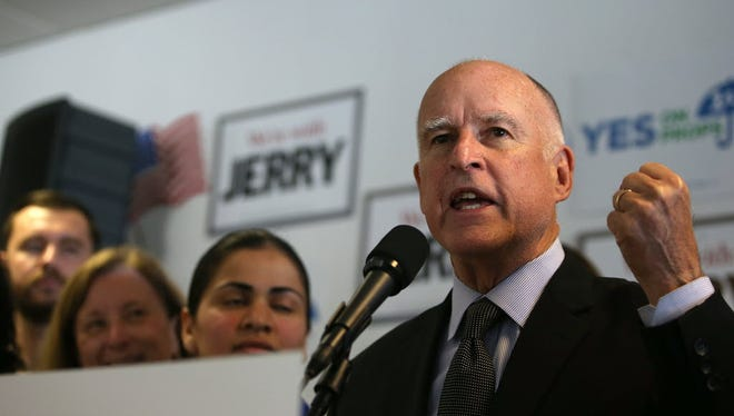 California Gov. Jerry Brown speaks during a get-out-the vote rally on Oct. 27 in Pleasanton, Calif.