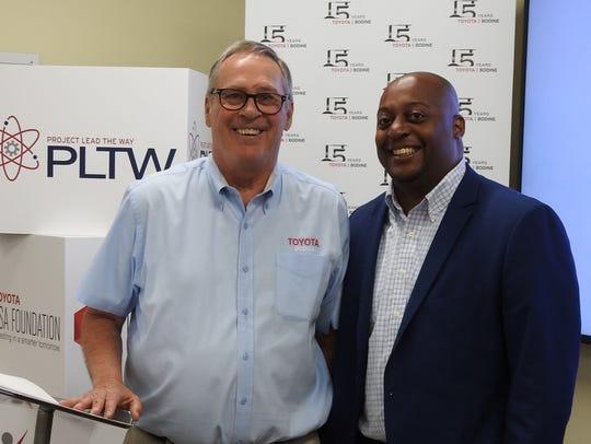 Bob Lloyd, Toyota Bodine president, and Dr. Eric Jones,