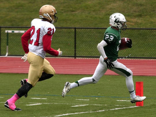 Delbarton runningback  Luca Tria runs into the end zone for his second touchdown of the first half vs Mt Olive during their football matchup. October 3, 2015, Morristown, NJ.