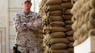 Retired Marine Lt. Col. Matthew W. Morgan of Traverse City is challenging Rep. Jack Bergman for his seat in Congress. Morgan served a total 18 months in Iraq, where this photo was taken.