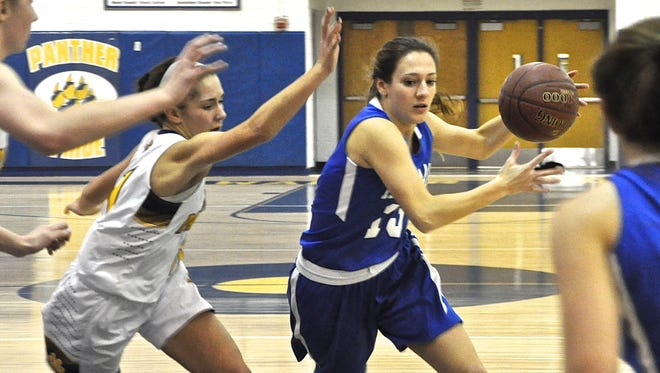 Haldane's Allison Chiera drives to the basket. She was fouled and sank 1 of 2 shots.