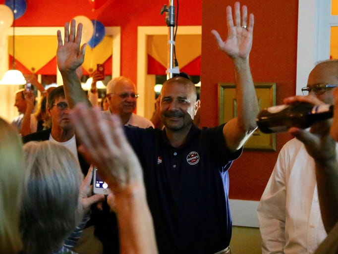 Rocky Hanna celebrates his victory at his election