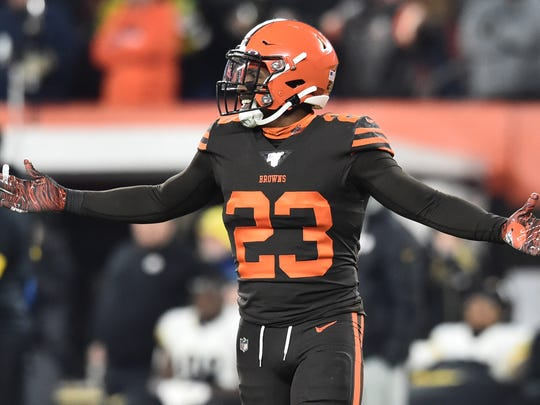 Nov 14, 2019; Cleveland, OH, USA; Cleveland Browns free safety Damarious Randall (23) reacts after being ejected during the second half against the Pittsburgh Steelers at FirstEnergy Stadium. Mandatory Credit: Ken Blaze-USA TODAY Sports