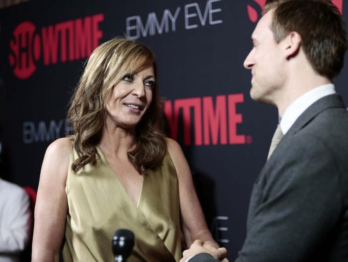 Actors Allison Janney and Teddy Sears attend Showtime 2014 Emmy Eve Soiree at Sunset Tower on August 24, 2014 in West Hollywood, California.