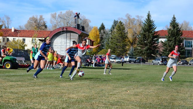 Aztec graduate Jessica Kresl, center, seen here playing against Colorado Christian University on Oct. 14, 2016, looks to be more of a scoring threat this season for Western State Colorado University.