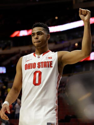 Ohio State's D'Angelo Russell (0) celebrates after a game against Minnesota on March 12, 2015, in Chicago.