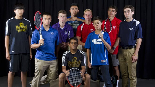 The 2015 All-Shore Boys Tennis Team of (front) Kishan Shah; (standing) Ryan Whang, Matt Resnikoff, David Weltz, Michael Chen, Graham Graver, Justin Wain, Gerard Giordano and Anthony Dein. Not pictured: David Lin.
