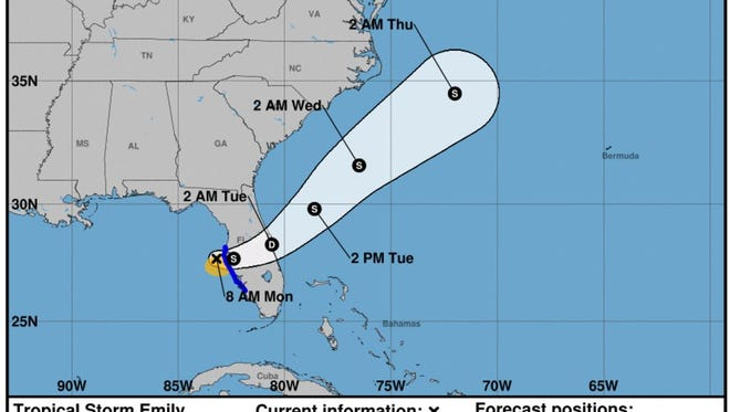 Tropical Storm Emily formed in the Gulf of Mexico on Monday, July 31, 2017.
