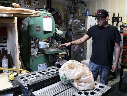 Iraq War veteran Rolando Corral talks about a saw gifted